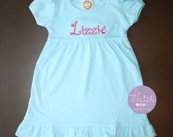 Short Sleeve Aqua Ruffle Dress with Name in Hot Pink