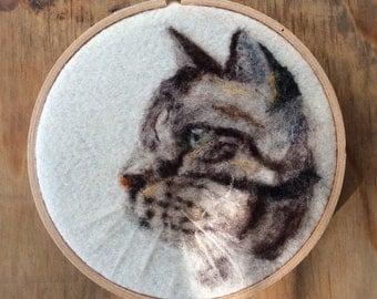 Hand needle felted pet portrait -cat