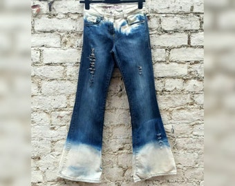Bleach Dye High Waisted Jeans Flared Rip Bleached Denim Flare Jeans to fit UK size 6 or US size 2 Grunge Clothing