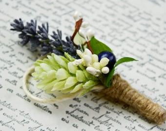 Lavender Boutonniere, Purple Boutonniere, Rustic boutonniere, Grooms Lapel Pin, Groom, Plum wedding Flowers, Purple Wedding Flowers