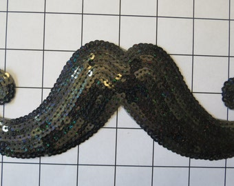 Iron or Sew On Black Mustache Sequins Applique (J-F)