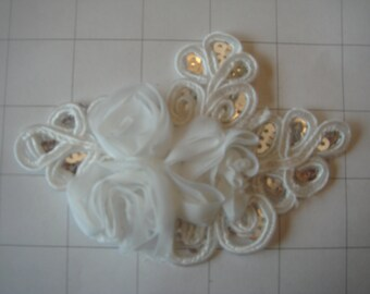 """White Flower and Sequins Braided Applique 4 1/2"""" by 3 1/4"""""""