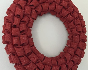 SALE Red Burlap Holiday Christmas Wreath Home Decor Sparkle Metallic DIY Plain Valentines