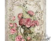Digital Rose Paper, Pink Scrapbook Digital Rose Paper, Background Digital Paper, Card Making and Fabric Transfer. No. 673.VA