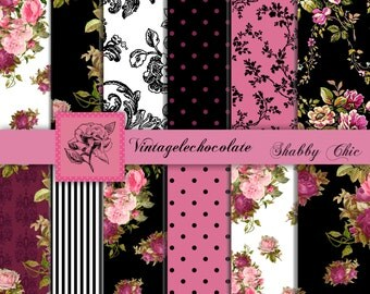 Digital Scrapbook Paper, Pink Floral Digital Papers, Pink and Black Vintage Rose Paper, Shabby Chic Floral Digital Paper. No. P90.VA