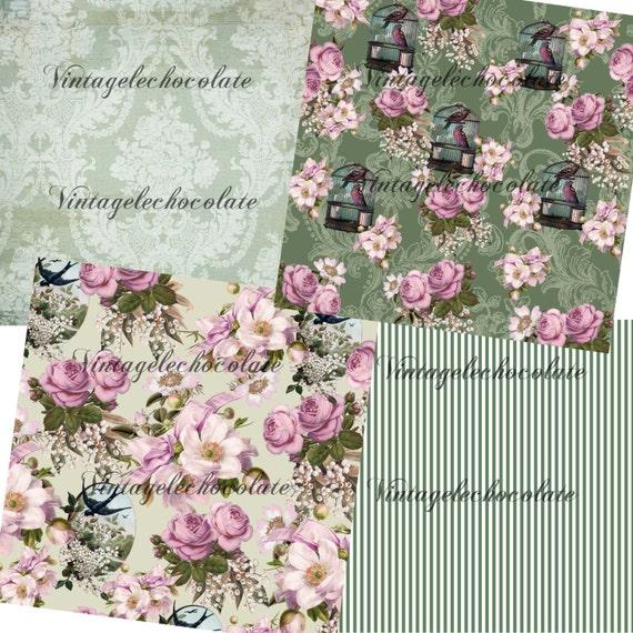Digital Scrapbook Paper, Digital Flower Paper, Floral
