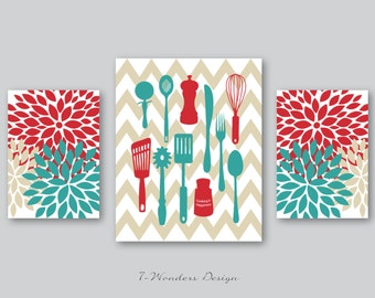 Kitchen Art Prints, Cooking is Happiness, Utensils, Chevron, Flower Bursts Wall Art, Set of 3 -  Red, Teal, Tan // Modern Kitchen Wall Art