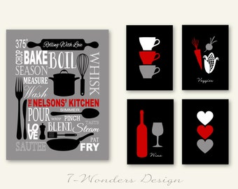 """Red Black Kitchen, Personalized Kitchen Art Subway Style with Cups and Hearts Prints, Set of (5) 5""""x7's"""" and 11""""x14"""" // Modern Kitchen Art"""