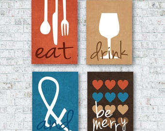 Modern Kitchen Art Prints - Eat Drink & Be Merry Set of (4) 4x6, 5x7, 8x10, 11x14, Mocha Brown, Burnt Suede Blue // Kitchen Art - Home Decor