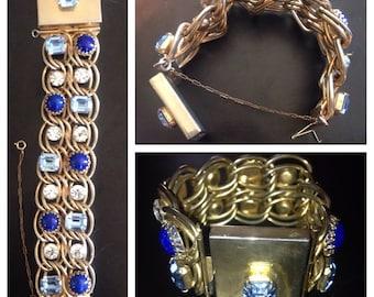 Vtg 60s Rhinestone Chain Mail Link Cuff Bracelet