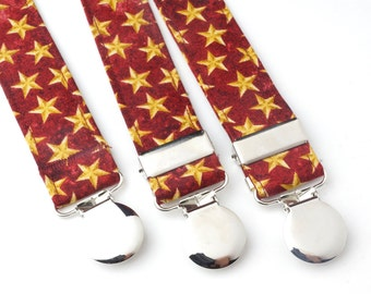 Red with Gold Stars Adjustable Suspenders