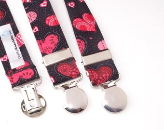 Black with Hearts Adjustable Suspenders