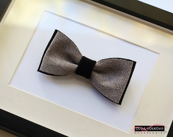 Grey and black genuine italian leather bow tie Valentines day gift