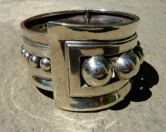 Taxco Silver Bracelet,Taxco Bracelet,Taxco Silver,Taxco Jewelry,Margot de Taxco Design,Silver Cuff,Vintage Taxco Bracelet,Silver Clamper