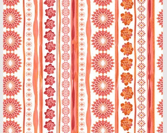 Island Breeze by P&B Textiles Stripes and floral 864-T white orange tangerine bright  sewing quilting 100% cotton fabric