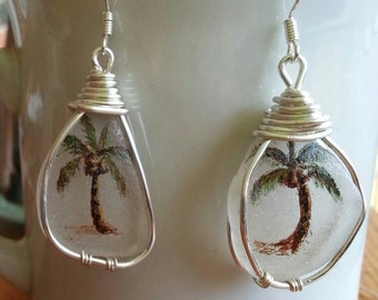 Hand painted palm tree seaglass earrings