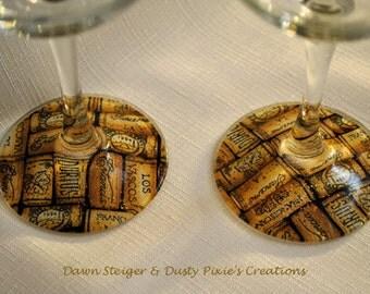 ON SALE!  Corks - Set of 2 Stylized Wineglasses