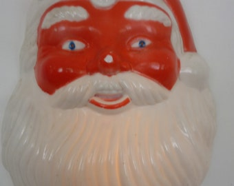 "Vintage  Plastic Santa 50's Retro Wall Hanging Sculptural Santa Face Light Up Christmas Decoration 17""  x  12"""