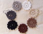 Crocheted Lace Earrings - Neutrals