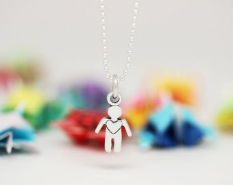 Little Boy charm, sterling silver, kid jewelry (Chain Sold Separately)