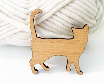 Laser cut Cat Brooch made from Australian Tallowwood