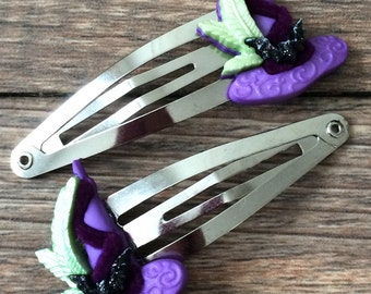SALE! LAST ONE! Halloween Witch Hair Clips-Witch Hat Snap Clips-Witch Costume Hair Accessory-Simple Witch Hair Bow-Witch Halloween Costume