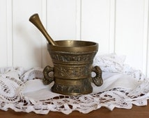 Large Heavy Vintage German Brass Bell Cup with Clanger- Temple Brass Cup with Clanger