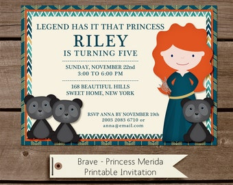 Brave Princess Merida Birthday Invitation