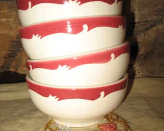 Restaurant China soup bowls. Flat salad white vintage red border.