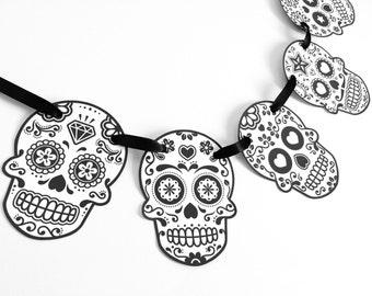 sugar skull halloween party banner garland bunting dia de los muertos mexican - Mexican Halloween Skulls