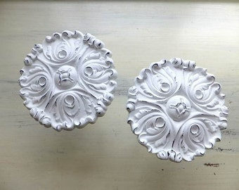 4 AVAIL - 2 Curtain Tie Backs White Medallion Shabby Chic French Nordic Decor Cottage Painted Window Sheers Distressed Plastic DETAILS BELOW