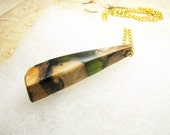 Medium size modern wood resin fusion pendant. Dark olive green resin and maple wood pendant. All natural UVpoxy.