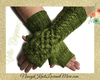 Olive Green Fingerless Gloves Celtic Knot Cables Ladies Merino Wool Malabrigo Rios Lettuce