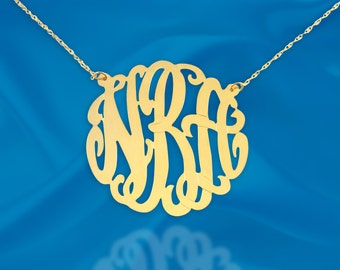Gold Monogram necklace - 1.25 inch Sterling silver 24K Gold Plated Handcrafted - Initial Necklace - Personalized Monogram - Made in USA