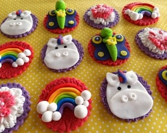 12 Fondant edible cupcake/cookie toppers - rainbow, unicorn, butterfly, flower, fondant cupcake toppers,girly birthday party,fondant unicorn