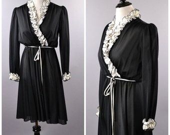 1980s Ruffled Black Dress