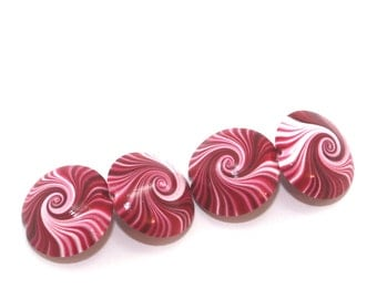 Lentil Beads, Polymer clay swirl beads in red, pink and white, unique pattern, set of 4 elegant red beads, focal beads for jewelry making