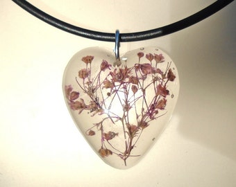 Purple  Babys Breath Real Pressed Flower Resin Heart Pendant Necklace