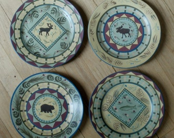 Rustic set of 4 Lodge / Wildlife plates