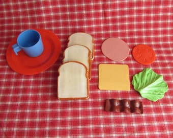 Vintage Toy Food Play Set - BLT - Baloney and Cheese Sandwich