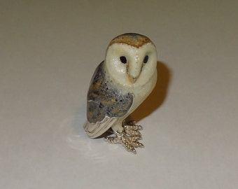 Saturno Sterling Silver Hand Enameled Barn Owl Figurine signed Sacchetti