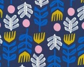 Bigfoot Navy by Leah Duncan Lore Cloud 9 Collective OE 100 Certified Organic Cotton Navy and Pink Fabric - Blue Leaf Print Fabric Organic