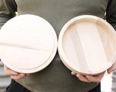 200 mm - Round unfinished wooden box - with cover - natural, eco friendly - 200 mm diameter - B101-200
