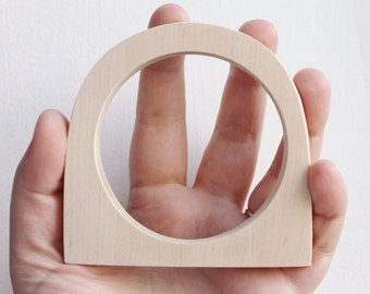 10 mm Wooden bangle unfinished round with two corners - natural eco friendly GE10