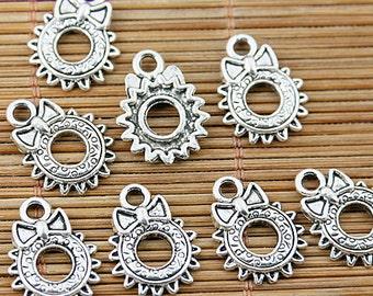36pcs Tibetan silver rund sun bowknot charms EF1643