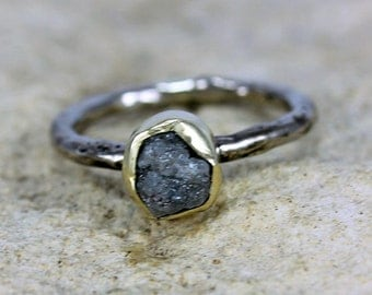 A Womans Engagement Ring Natural Uncut Diamond Gold Jewelry Handmade Ring   Organic Womans Ring