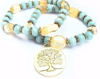 Yellow and Blue Tree of Life Bracelet, Citrine gemstones, Amazonite, stretch bracelets, Bracelet duo, stacking, beach, boho