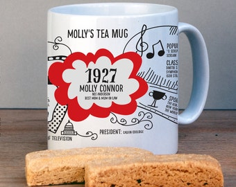 Personalized 1927 Birthday Mug For 90th Birthday-USA History Version-1927 Birthday Gift-Personalized Birthday Gift-90th Gift-Gift for Dad
