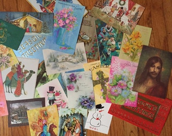 Assortment of 50 Vintage Used Greeting Cards - Perfect For Repurposing!