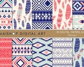 Navajo Digital Paper Printable Instant Download Geometric and Feathers Patterns for Prints, Cards, Scrapbook, Invitations, Stationery...